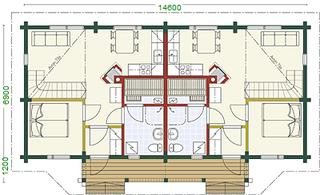 Doppelhaus - Blockhaus - EG Grundriss  - Entwurf - Entwurfsplanung - Grundrissplanung - Architekt - Bauplanung - Planungsbüro - Statiker - Bauantrag - Schleswig Holstein - Hessen - Würzburg - Eisenach - Stade - Lüneburg - schlüsselfertig bauen - Holz