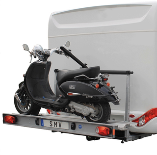 Der ideale klappbare Heckträger für 1 Roller oder Motorrad für Ihr Wohnmobil.