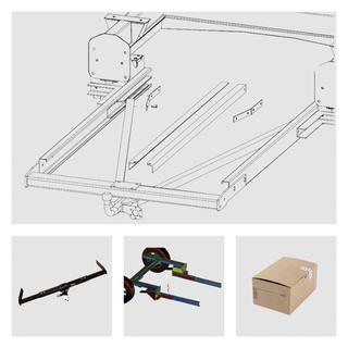 Anhängerkupplung Variabel 12,5 kN inkl. Rahmenverlängerung Flachboden Peugoet Boxer Bj. 2001 bis 1994 und Elektrokabelsatz für Ihr Wohnmobil / Reisemobil