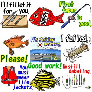 line sticker fishman fish fishing