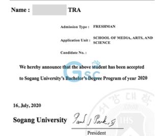 Thư nhập học Sogang