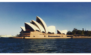 sydney opera house in sydney harbour water view from a ferry australia