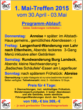 2015 Schwule Wandergruppe Mai-Treffen