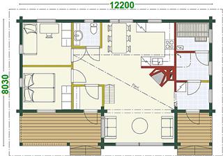 Blockhaus Bungalow - Singlehaus Himmelpfort - Grundriss - Wohnblockhaus - Holzhaus - nachhaltig -  umweltfreundlich - Grundriss - Massivholzhaus - Brandenburg - Blockhäuser - Entwürfe - Blockhausbau - Havelland - Bernau - Potsdam - Celle