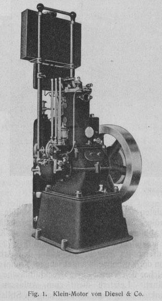 Einzylinder-Versuchs-Dieselmotor für PKWs Baujahr 1910  der Münchner Firma Diesel & Co.