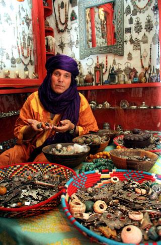 """Abdenbi Adnani (""""Zaroual"""") in his boutique """"La Fibule Berbère"""""""