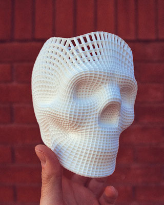 3D-printed sculpture of a human skull