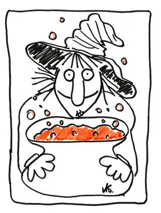 Hexe kocht um Mitternacht