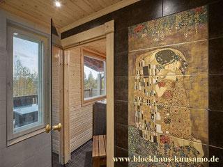 Dekorationselement - Mosaikkunst -   Innenansicht vom Wellnessbereich im Blockhaus