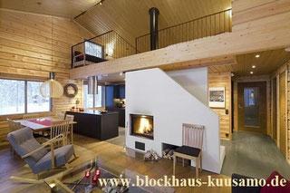 Blockhaus als Wohnhaus - Kaminofen