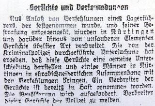 Aus: Nürtinger Tagblatt vom 1.  November 1944, der Beitrag bezieht sich auf solche Vorfälle im Lager Mühlwiesen, per Klick vergrößerbar