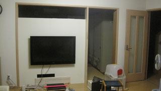 ゴム集成材の自作テレビ壁掛け