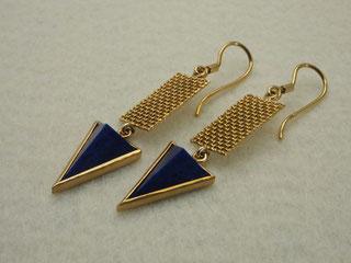 Ohrring, hängend, Lapis, Pyramide, Gold