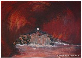 Abstrakte Acrylmalerei, eine Höhle mit einem Fluss im Innern