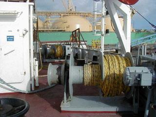 Mooring-Seilwinde auf einem Schiff