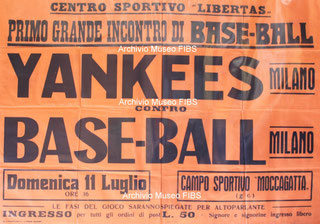 La locandina della prima partita di baseball ufficiale in Italia (Roberto Buganè Museo virtuale FIBS)