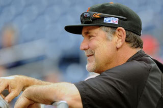 Nella foto Bruce Bochy, manager dei San Francisco Giants consumatore di tabacco da masticare (Photo by Mark Goldman/UPI)