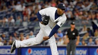 Aroldis Chapman così come lo rivedremo il prossimo anno in casacca Yankees (da Sport Illustrated)