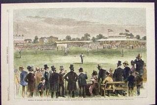 Nell'illustrazione una partita di baseball giocata in Inghilterra nel 1878 ( www.printsoldandrare.com)
