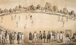 Nell'illustrazione una partita Intercoloniale di Cricket tra Victoria e New South Wales, presso Melbourne Cricket Ground (Australia), Gennaio 1858