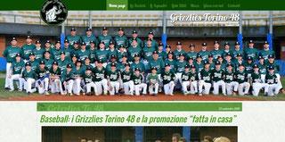 La home page del sito dei Grizzlies Torino 48