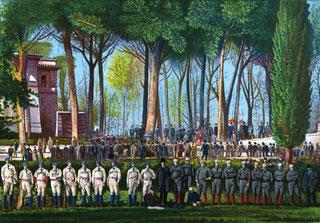 Nella raffigurazione le squadre presso Villa Borghese Roma (1889)