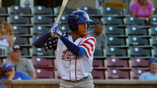 Nella foto Marten Gasparini ieri notte con la casacca in occasione del Memorial Day (Mary Lay/Lexington Legends)