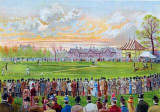 Nel disegno viene rappresentata la partita al Crystal Palace Grounds, Londra: Cubs Vs All-American (1989)