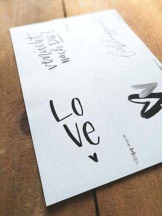 Druckvorlage Karte zum Valentinstag