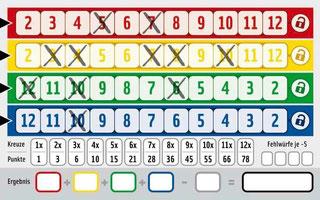 Qwixx-Spielblatt