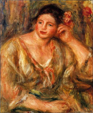 "Auguste Renoir ""Madeleine Leaning on Her Elbow with Flowers in Her Hair"""