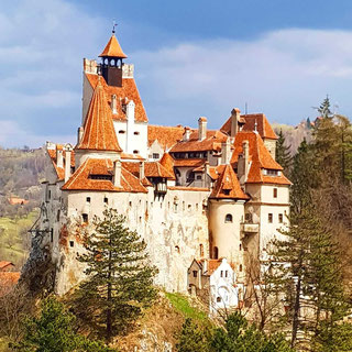 View of Bran Castle from a hill