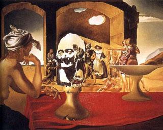 Картины Сальвадора Дали (1931 - 1940) - Невольничий рынок с явлением незримого бюста Вольтера (1940)