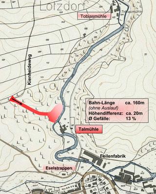 """Die Lage der Rodelbahn an der Talmühle Lotzdorf bzw. """"an den Eselstrappen"""""""