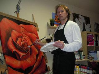 Acrylbild, Rote Rose