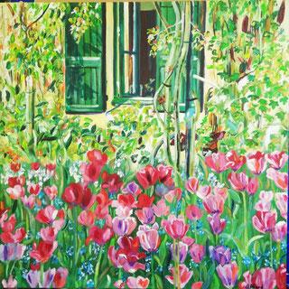 Les tulipes de Giverny, peinture à l'huile, Claire ALLARD