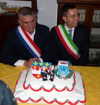 La réception officielle en 2014 à Fara Sabina avec les maires des deux communes jumelées.