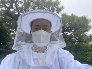 松の木の前で白い蜂の防護服を着た駆除職人の写真