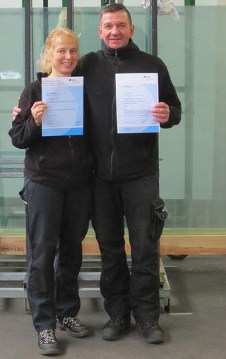 Tanja Neumann und Steffen Müller besuchten Seminare der VBG Glas Keramik