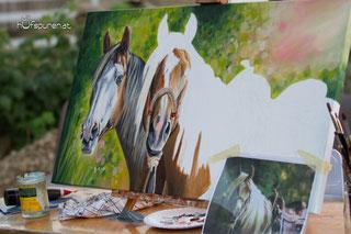Steffi's Westernpferde als Gemälde, Vorlage von Christiane Heese, Pferdemalerei Hufspuren, www.hufspuren.com