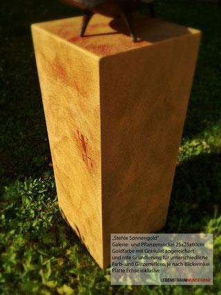 Stehle Sonnengold - Galerie- & Pflanzensockel - Unterschiedliche Farbreflexe - Lebenstraum Wunderbar