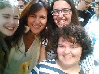 Selfie amb Marta Botet (booktuber), Laura Borràs (Directora ILC) i Irene (blogger)