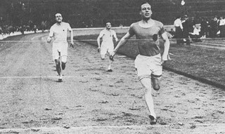 Eric Liddell wins the 1925 220 yards title at Hampden Park