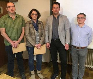 Bild von links: Reiner Göbel, Gabriele Kiefer, Bürgermeister Florian Langecker und Vorsitzender Guido Krapp