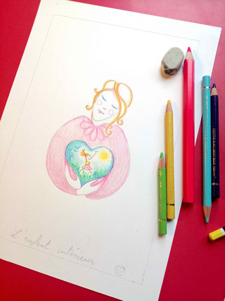 enfant interieur, severine saint-maurice, lescerclesdelumiere.com, crayon de couleur, dessin enfant, illustration