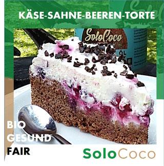 Rezept für Käse-Sahne-Beerentorte mit Solococo Kokosmehl, Solococo-Kokosöl und SoloCoco Kakaopulver und Nibs