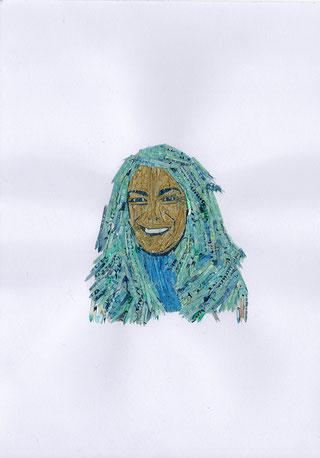 Selbstportrait aus geschredderten Pfund-Noten