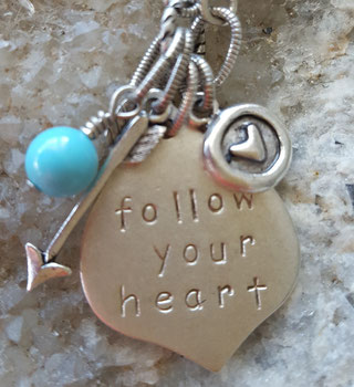 follow your heart affirmation necklace handmade in Noosa Australia