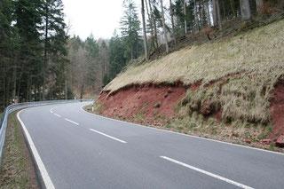 März 2011: Böschungsschäden; aus der Böschung waren Steine ausgebrochen.
