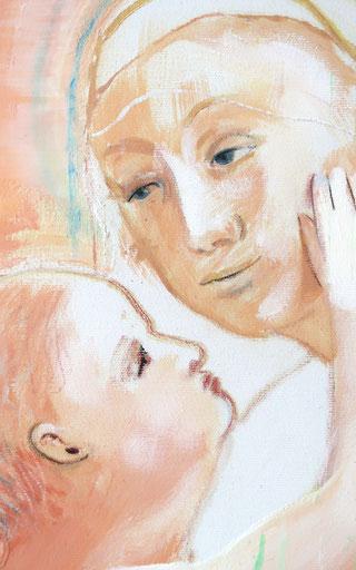Madonna mit Kind - 2, 2021, Acryl auf Leinwand, Detail